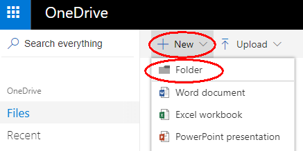 OneDrive File > New > Folder