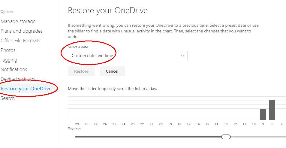 Restore OneDrive