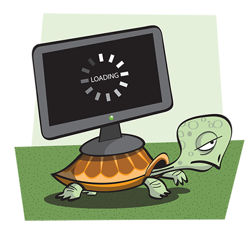 Tortoise with PG on it's back, fdepicting slow page load times.