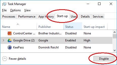 Startup window